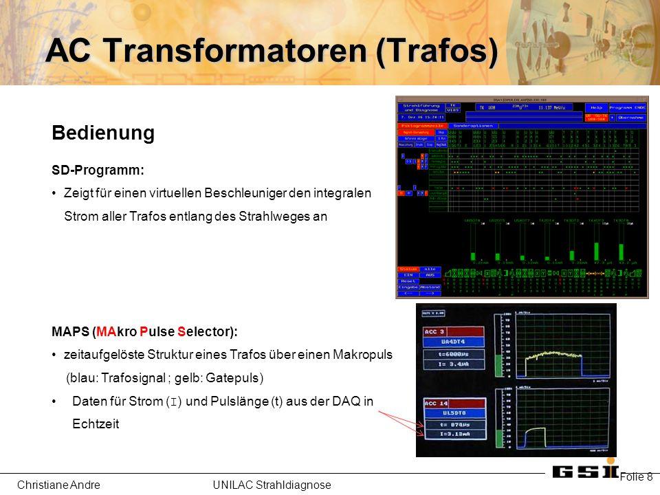 Christiane Andre UNILAC Strahldiagnose AC Transformatoren (Trafos) Folie 8 Bedienung SD-Programm: Zeigt für einen virtuellen Beschleuniger den integralen Strom aller Trafos entlang des Strahlweges an MAPS (MAkro Pulse Selector): zeitaufgelöste Struktur eines Trafos über einen Makropuls (blau: Trafosignal ; gelb: Gatepuls) Daten für Strom (I) und Pulslänge (t) aus der DAQ in Echtzeit