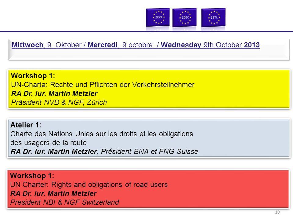 Workshop 1: UN-Charta: Rechte und Pflichten der Verkehrsteilnehmer RA Dr. iur. Martin Metzler Präsident NVB & NGF, Zürich Workshop 1: UN-Charta: Recht