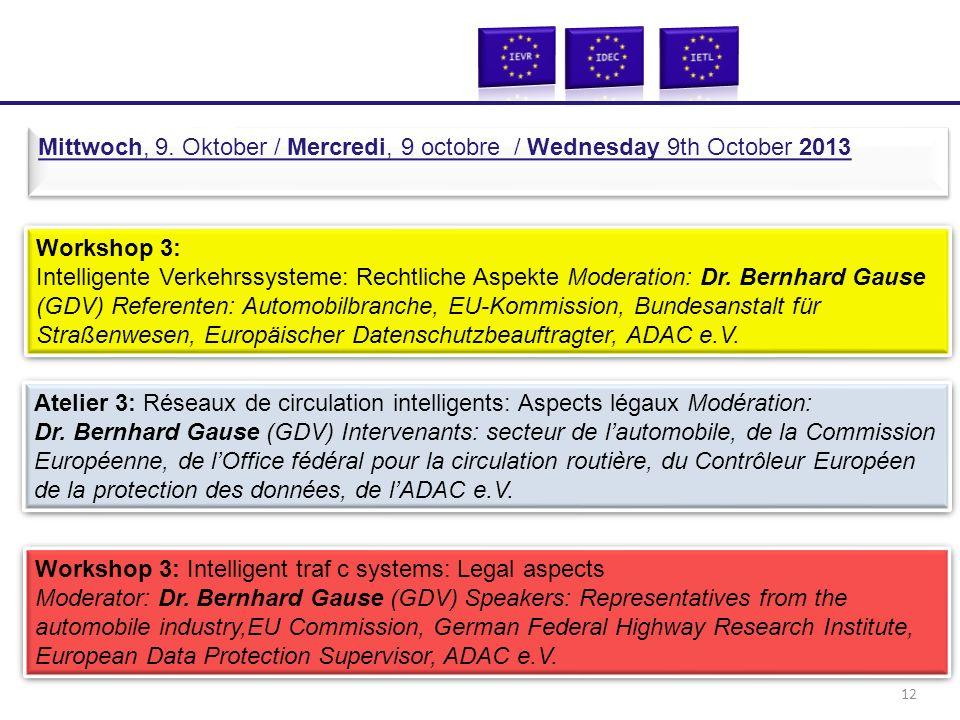Workshop 3: Intelligente Verkehrssysteme: Rechtliche Aspekte Moderation: Dr. Bernhard Gause (GDV) Referenten: Automobilbranche, EU-Kommission, Bundesa