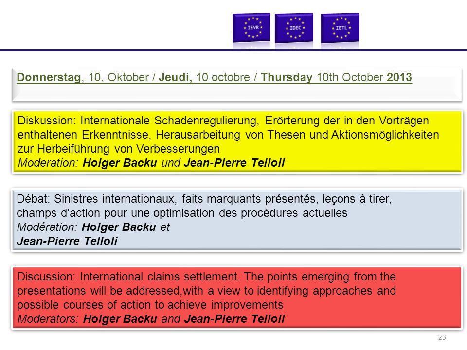 Diskussion: Internationale Schadenregulierung, Erörterung der in den Vorträgen enthaltenen Erkenntnisse, Herausarbeitung von Thesen und Aktionsmöglich