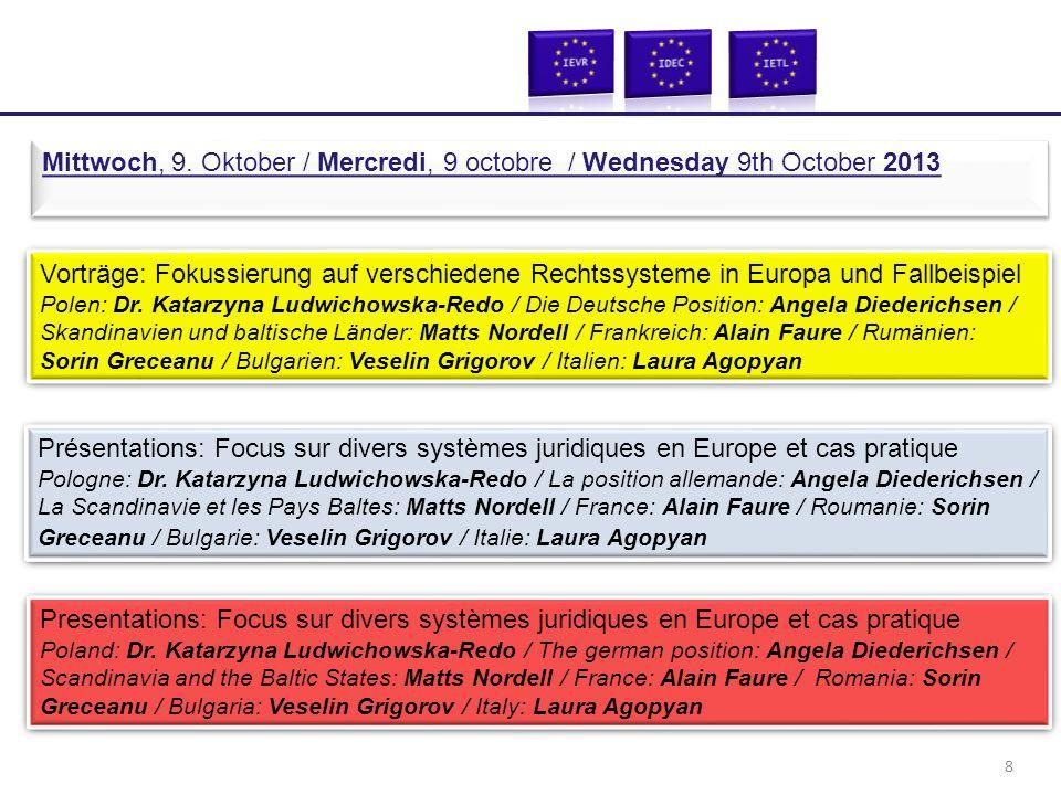 Vorträge: Fokussierung auf verschiedene Rechtssysteme in Europa und Fallbeispiel Polen: Dr. Katarzyna Ludwichowska-Redo / Die Deutsche Position: Angel