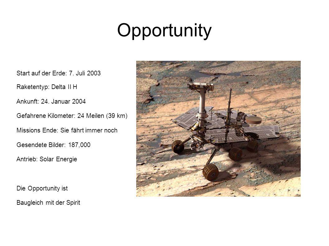 Opportunity Start auf der Erde: 7. Juli 2003 Raketentyp: Delta II H Ankunft: 24. Januar 2004 Gefahrene Kilometer: 24 Meilen (39 km) Missions Ende: Sie