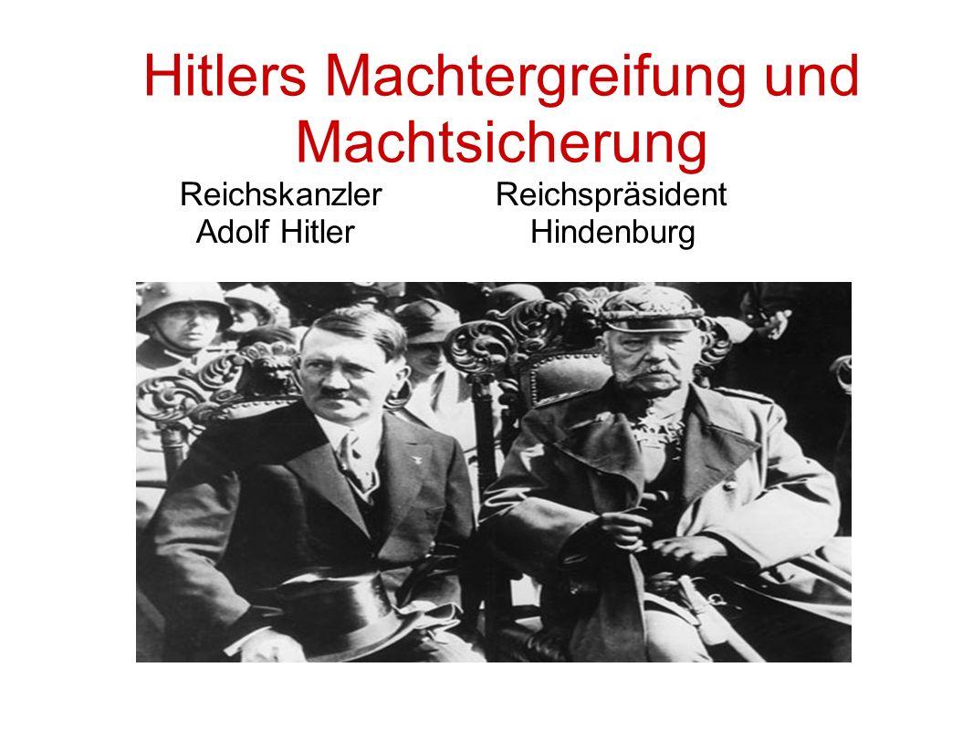Hitlers Machtergreifung und Machtsicherung Reichskanzler Reichspräsident Adolf Hitler Hindenburg
