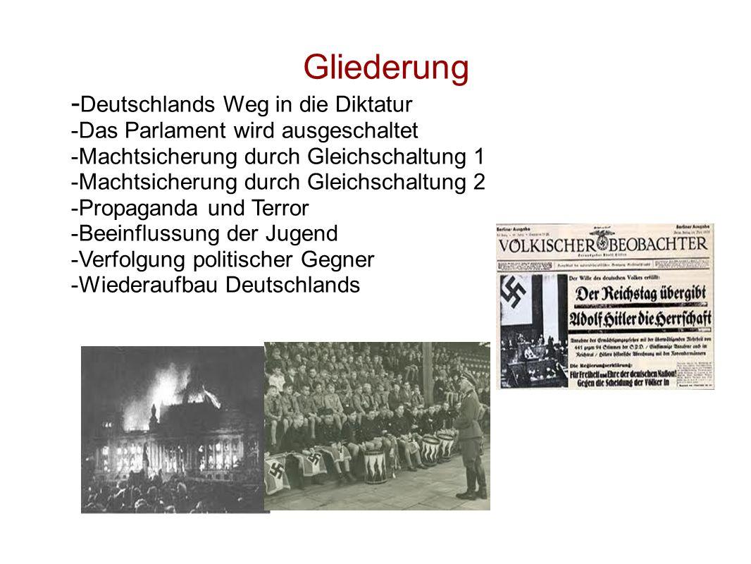 Eine neue Regierung wird gebildet: 1932 NSDAP stärkste Partei mit 33,1 % Hindenburg ernennt 1933 Hitler zum Reichskanzler Hitler bezeichnet 30.01.1933 als Machtergreifung Muss mit DNVP eine Regierung bilden(zu wenig Stimmen) Vizekanzler von Papen dachte NSDAP im Griff zu haben Von Papen oft Steigbügelhalter Hitlers genannt Göring Reichsminister, preußischer Innenminister Die Grundrechte werden ausgeschlachtet: Hilter störte Zusammenarbeit mit DNVP Überredete Reichskanzler zu Neuwahlen Gegner der Wahl waren KPD und SPD 28.02.1993 ging das Parlamennt in Flammen auf Nachts 4000 Sozialdemokraten und Kummunisten verhaftet Menschen gefoltert und in Konzentrationslager eingeliefert Rundfunk unterstand nur noch NSDAP 05.03.1933 Neuwahlen NSDAP nur 43,9 % der Stimmen  Koalition mit DNVP nötig  Ausschaltung des Parlaments (=Demokratie wird zur Diktatur!)