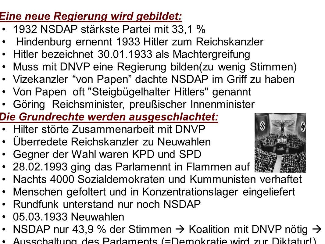 Eine neue Regierung wird gebildet: 1932 NSDAP stärkste Partei mit 33,1 % Hindenburg ernennt 1933 Hitler zum Reichskanzler Hitler bezeichnet 30.01.1933