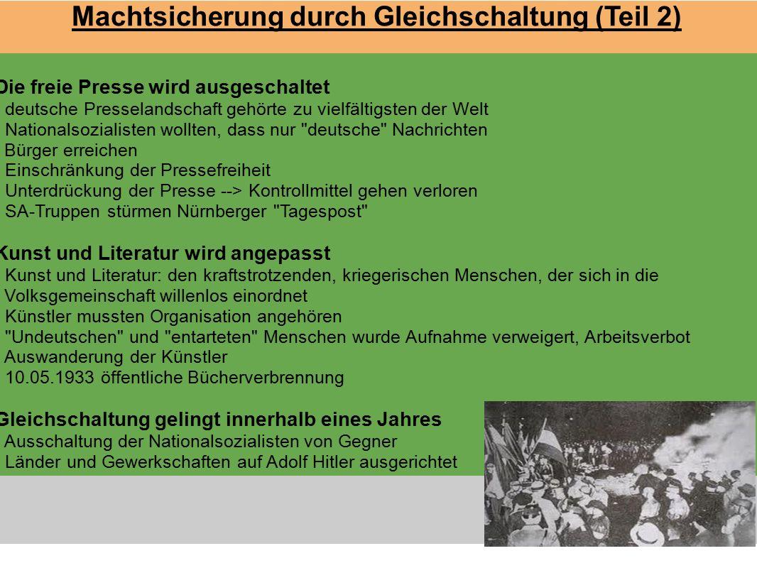 Machtsicherung durch Gleichschaltung (Teil 2) Die freie Presse wird ausgeschaltet - deutsche Presselandschaft gehört zu vielfältigsten der Welt - Nati