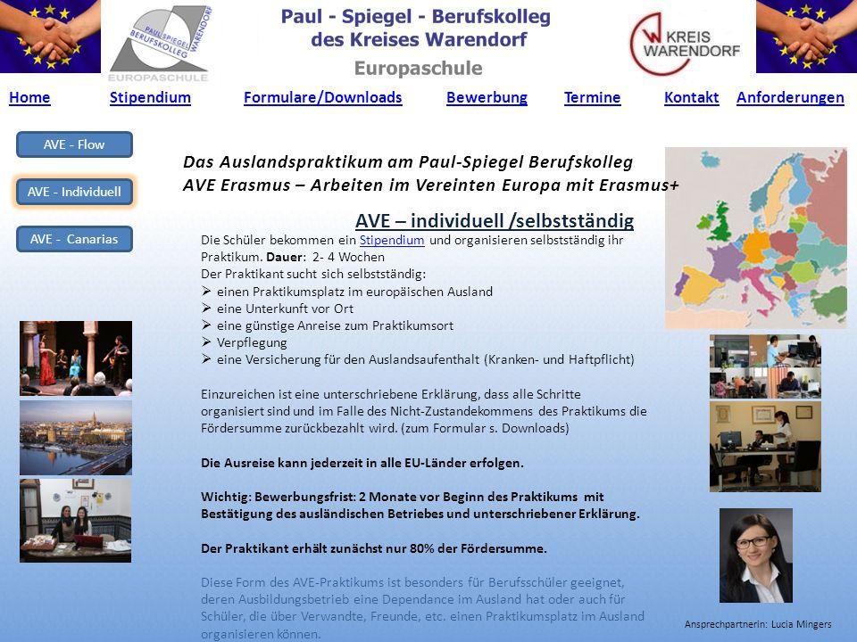 AVE - Flow AVE - Individuell AVE - Canarias Das Auslandspraktikum am Paul-Spiegel Berufskolleg AVE Erasmus – Arbeiten im Vereinten Europa mit Erasmus+ AVE – individuell /selbstständig Die Schüler bekommen ein Stipendium und organisieren selbstständig ihr Praktikum.