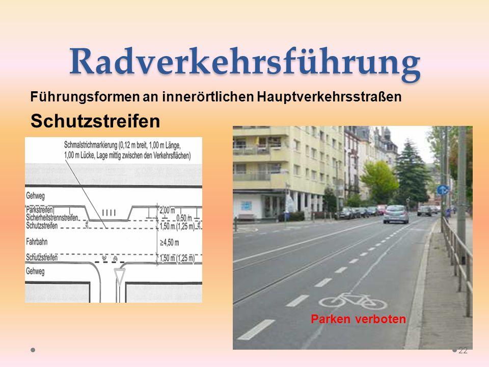 Radverkehrsführung Führungsformen an innerörtlichen Hauptverkehrsstraßen Schutzstreifen 22 Parken verboten