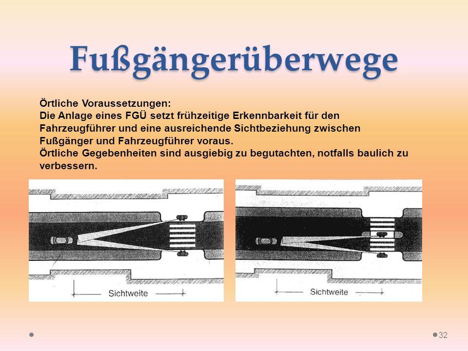 Fußgängerüberwege Örtliche Voraussetzungen: Die Anlage eines FGÜ setzt frühzeitige Erkennbarkeit für den Fahrzeugführer und eine ausreichende Sichtbeziehung zwischen Fußgänger und Fahrzeugführer voraus.