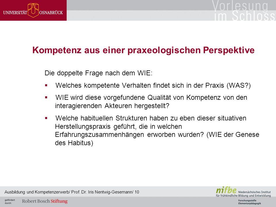 Kompetenz aus einer praxeologischen Perspektive Die doppelte Frage nach dem WIE:  Welches kompetente Verhalten findet sich in der Praxis (WAS?)  WIE