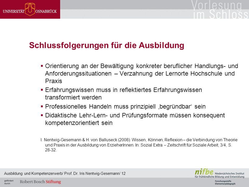 Schlussfolgerungen für die Ausbildung  Orientierung an der Bewältigung konkreter beruflicher Handlungs- und Anforderungssituationen – Verzahnung der