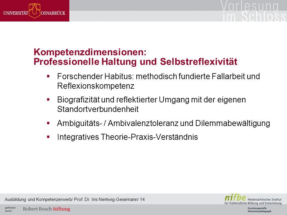 Kompetenzdimensionen: Professionelle Haltung und Selbstreflexivität  Forschender Habitus: methodisch fundierte Fallarbeit und Reflexionskompetenz  B