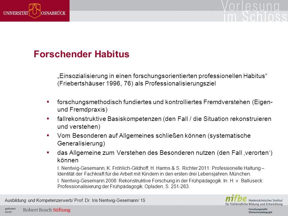 """Forschender Habitus """"Einsozialisierung in einen forschungsorientierten professionellen Habitus"""" (Friebertshäuser 1996, 76) als Professionalisierungszi"""