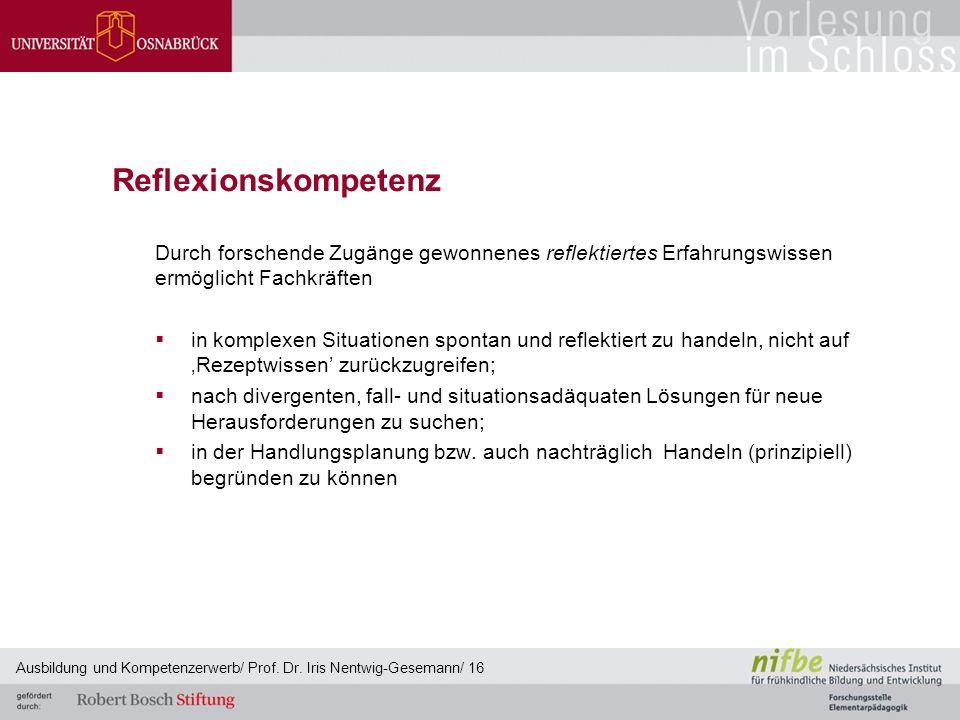 Reflexionskompetenz Durch forschende Zugänge gewonnenes reflektiertes Erfahrungswissen ermöglicht Fachkräften  in komplexen Situationen spontan und r