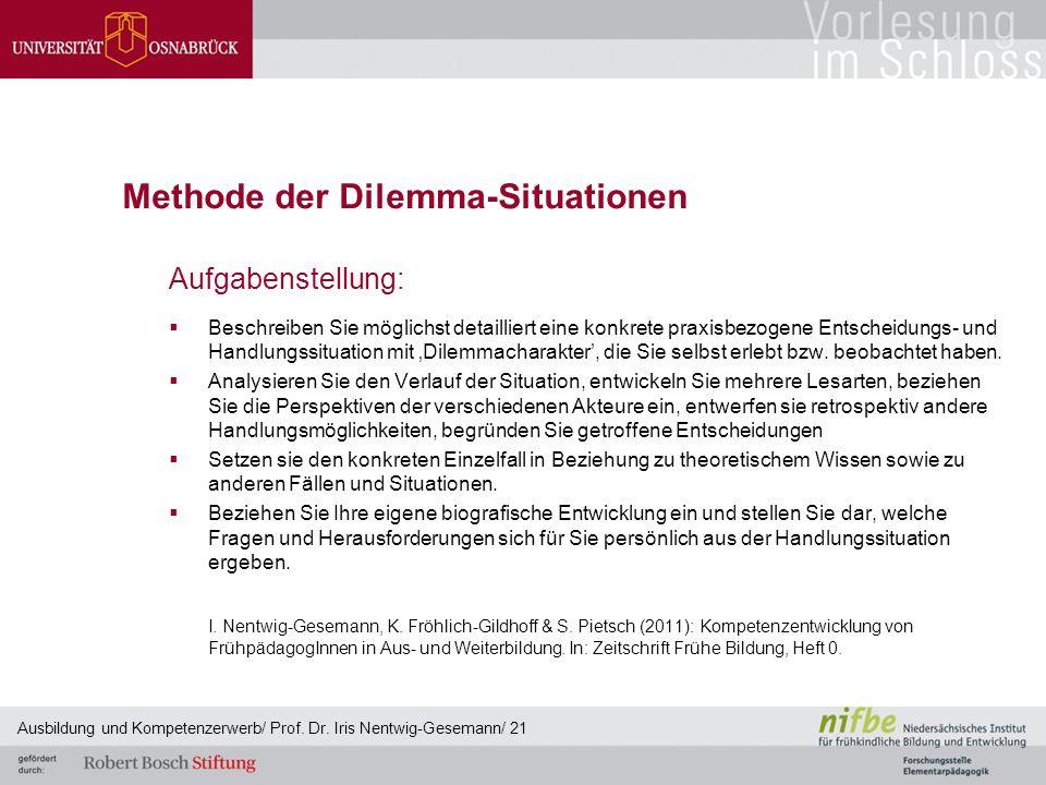 Methode der Dilemma-Situationen Aufgabenstellung:  Beschreiben Sie möglichst detailliert eine konkrete praxisbezogene Entscheidungs- und Handlungssit