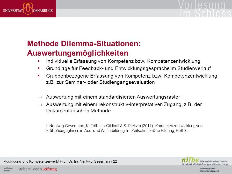 Methode Dilemma-Situationen: Auswertungsmöglichkeiten  Individuelle Erfassung von Kompetenz bzw. Kompetenzentwicklung  Grundlage für Feedback- und E