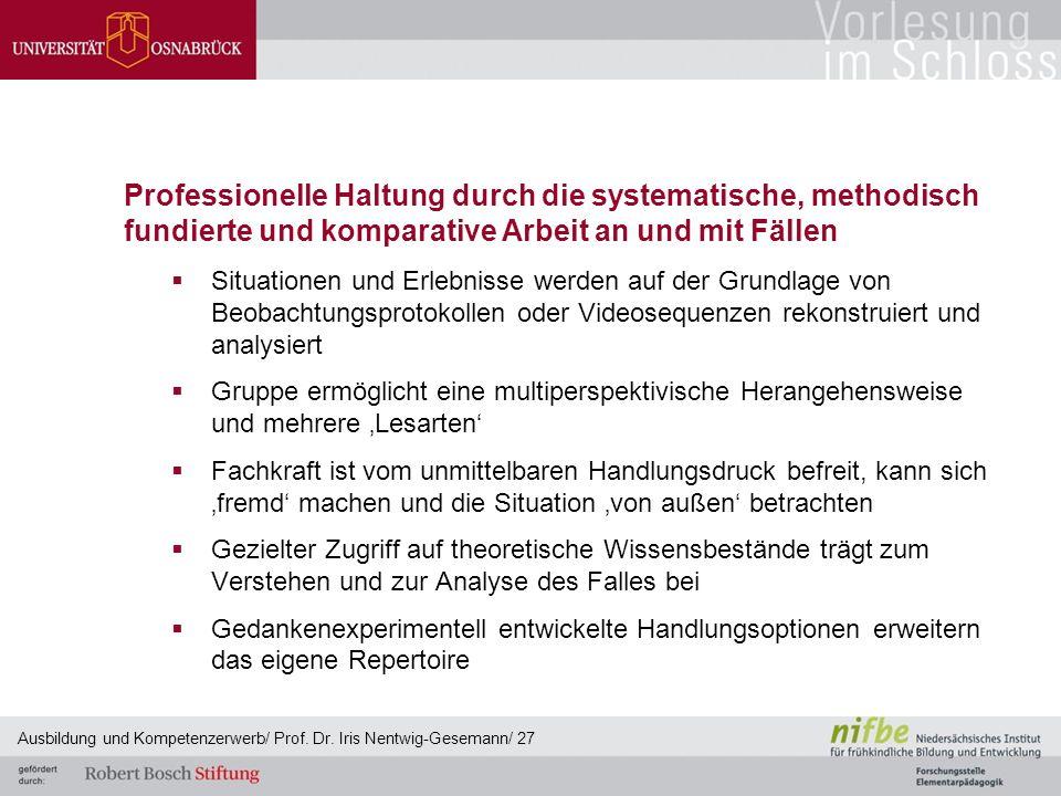 Professionelle Haltung durch die systematische, methodisch fundierte und komparative Arbeit an und mit Fällen  Situationen und Erlebnisse werden auf