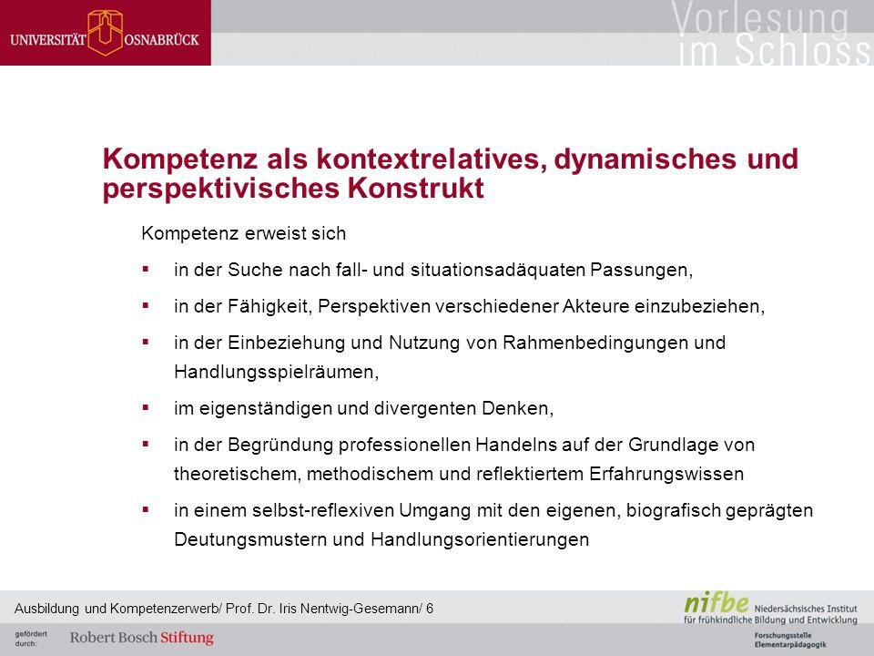 Kompetenz als kontextrelatives, dynamisches und perspektivisches Konstrukt Kompetenz erweist sich  in der Suche nach fall- und situationsadäquaten Pa