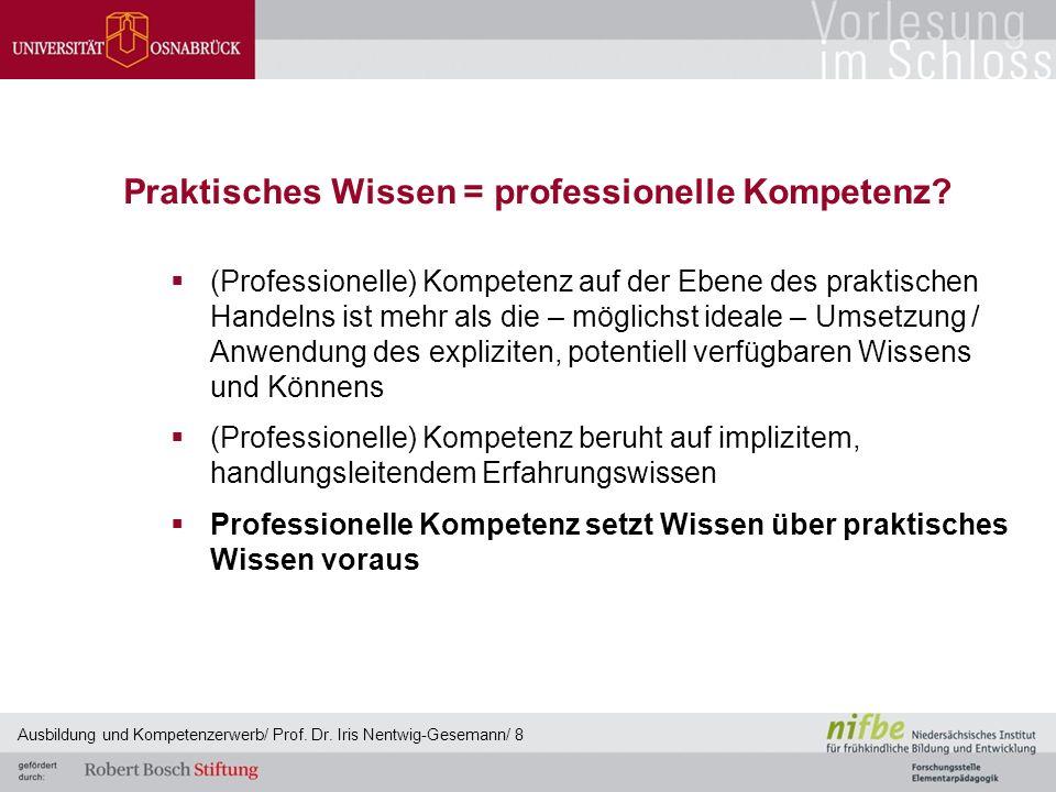 Praktisches Wissen = professionelle Kompetenz?  (Professionelle) Kompetenz auf der Ebene des praktischen Handelns ist mehr als die – möglichst ideale