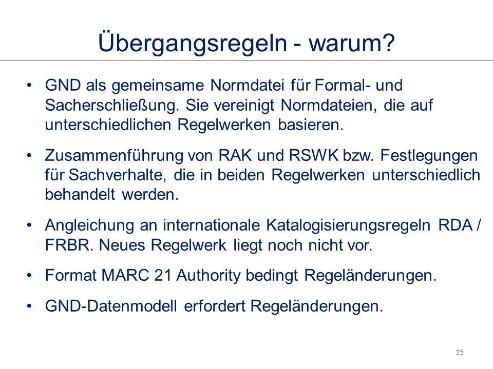 15 Übergangsregeln - warum. GND als gemeinsame Normdatei für Formal- und Sacherschließung.