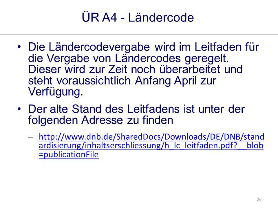 26 ÜR A4 - Ländercode Die Ländercodevergabe wird im Leitfaden für die Vergabe von Ländercodes geregelt.