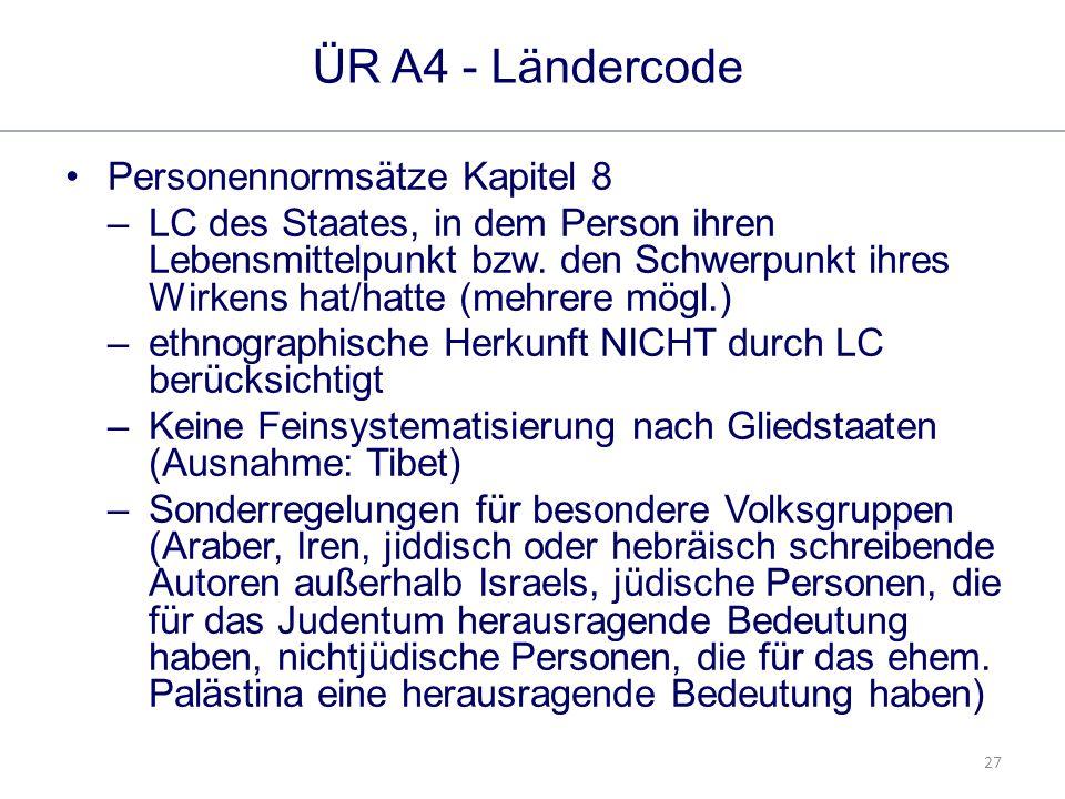 27 ÜR A4 - Ländercode Personennormsätze Kapitel 8 –LC des Staates, in dem Person ihren Lebensmittelpunkt bzw.