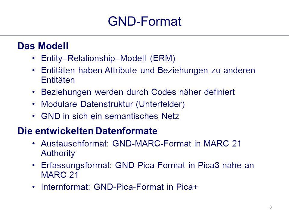 8 GND-Format Das Modell Entity–Relationship–Modell (ERM) Entitäten haben Attribute und Beziehungen zu anderen Entitäten Beziehungen werden durch Codes näher definiert Modulare Datenstruktur (Unterfelder) GND in sich ein semantisches Netz Die entwickelten Datenformate Austauschformat: GND-MARC-Format in MARC 21 Authority Erfassungsformat: GND-Pica-Format in Pica3 nahe an MARC 21 Internformat: GND-Pica-Format in Pica+