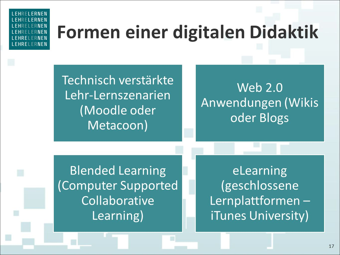 Formen einer digitalen Didaktik 17 Technisch verstärkte Lehr-Lernszenarien (Moodle oder Metacoon) Web 2.0 Anwendungen (Wikis oder Blogs Blended Learning (Computer Supported Collaborative Learning) eLearning (geschlossene Lernplattformen – iTunes University)