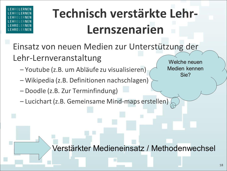Technisch verstärkte Lehr- Lernszenarien Einsatz von neuen Medien zur Unterstützung der Lehr-Lernveranstaltung –Youtube (z.B. um Abläufe zu visualisie