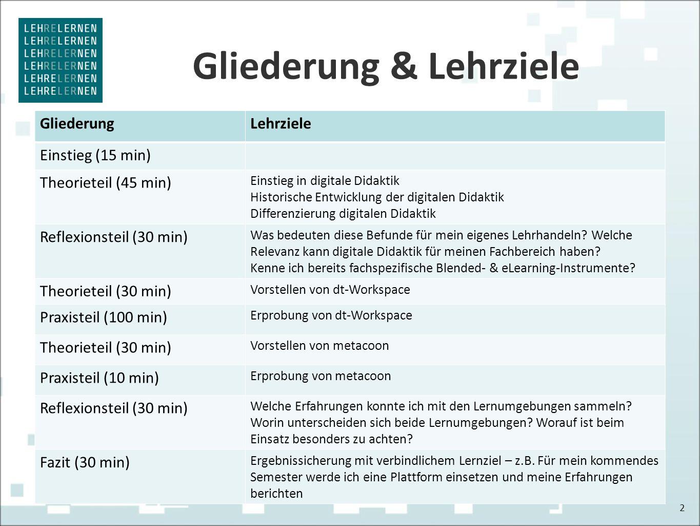 Gliederung & Lehrziele GliederungLehrziele Einstieg (15 min) Theorieteil (45 min) Einstieg in digitale Didaktik Historische Entwicklung der digitalen