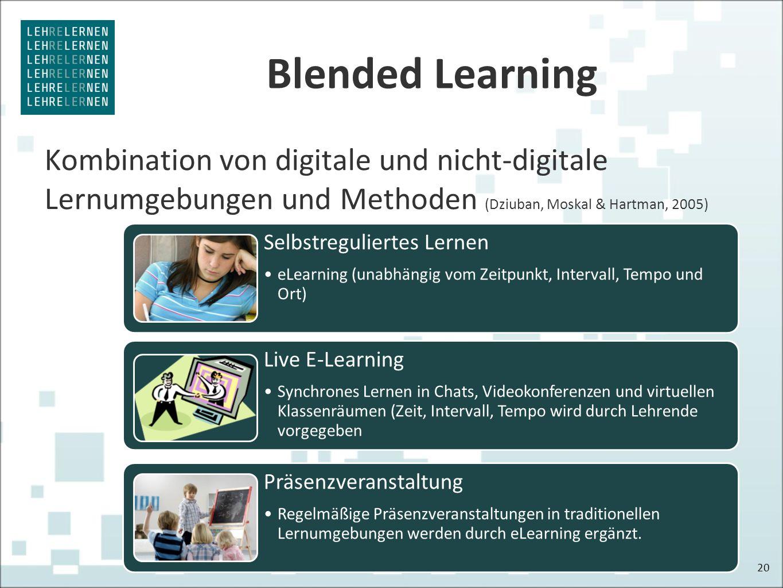 Blended Learning Kombination von digitale und nicht-digitale Lernumgebungen und Methoden (Dziuban, Moskal & Hartman, 2005) 20 Selbstreguliertes Lernen eLearning (unabhängig vom Zeitpunkt, Intervall, Tempo und Ort) Live E-Learning Synchrones Lernen in Chats, Videokonferenzen und virtuellen Klassenräumen (Zeit, Intervall, Tempo wird durch Lehrende vorgegeben Präsenzveranstaltung Regelmäßige Präsenzveranstaltungen in traditionellen Lernumgebungen werden durch eLearning ergänzt.
