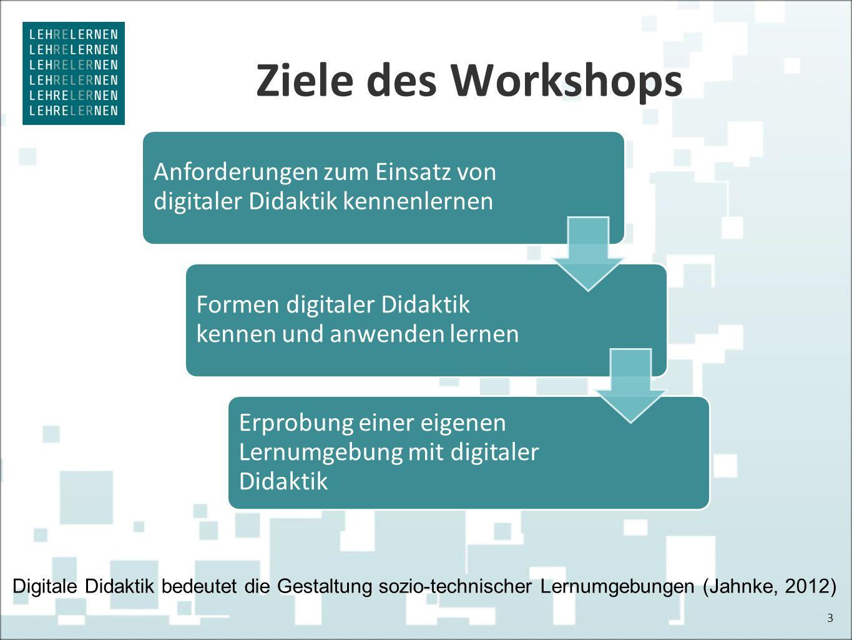 Ziele des Workshops 3 Anforderungen zum Einsatz von digitaler Didaktik kennenlernen Formen digitaler Didaktik kennen und anwenden lernen Erprobung ein