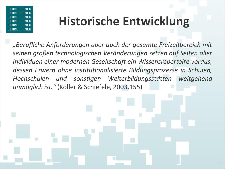 """Historische Entwicklung """"Berufliche Anforderungen aber auch der gesamte Freizeitbereich mit seinen großen technologischen Veränderungen setzen auf Sei"""