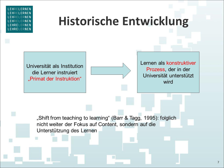 """Historische Entwicklung 7 Universität als Institution die Lerner instruiert """"Primat der Instruktion Lernen als konstruktiver Prozess, der in der Universität unterstützt wird """"Shift from teaching to learning (Barr & Tagg, 1995): folglich nicht weiter der Fokus auf Content, sondern auf die Unterstützung des Lernen"""
