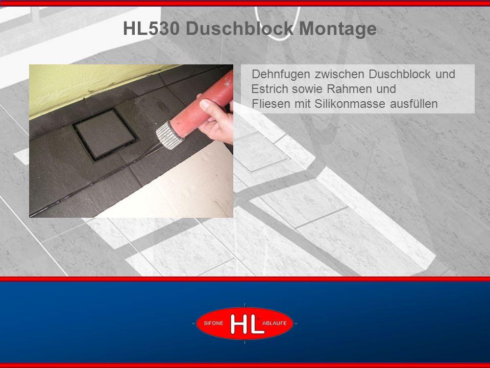www.hutterer-lechner.com HL530 Duschblock Montage Dehnfugen zwischen Duschblock und Estrich sowie Rahmen und Fliesen mit Silikonmasse ausfüllen