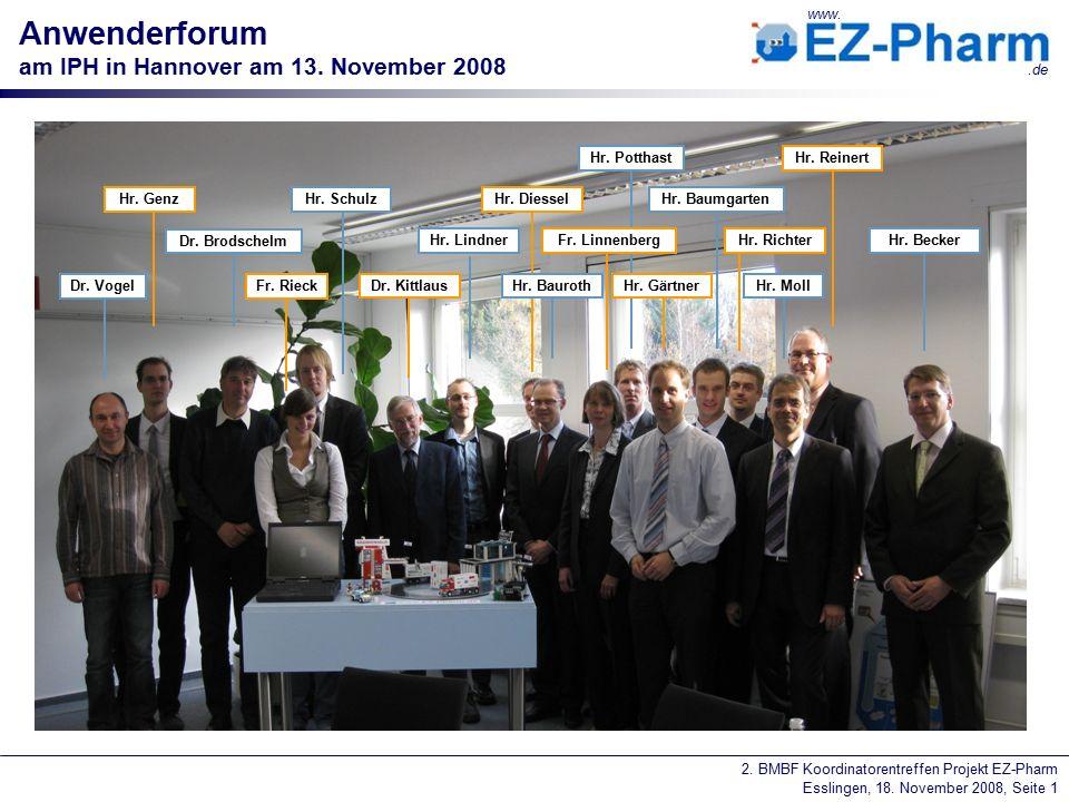 2. BMBF Koordinatorentreffen Projekt EZ-Pharm Esslingen, 18. November 2008, Seite 1 www..de Anwenderforum am IPH in Hannover am 13. November 2008 Hr.