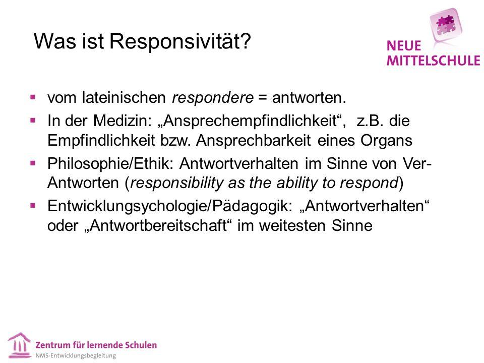 """Was ist Responsivität?  vom lateinischen respondere = antworten.  In der Medizin: """"Ansprechempfindlichkeit"""", z.B. die Empfindlichkeit bzw. Ansprechb"""