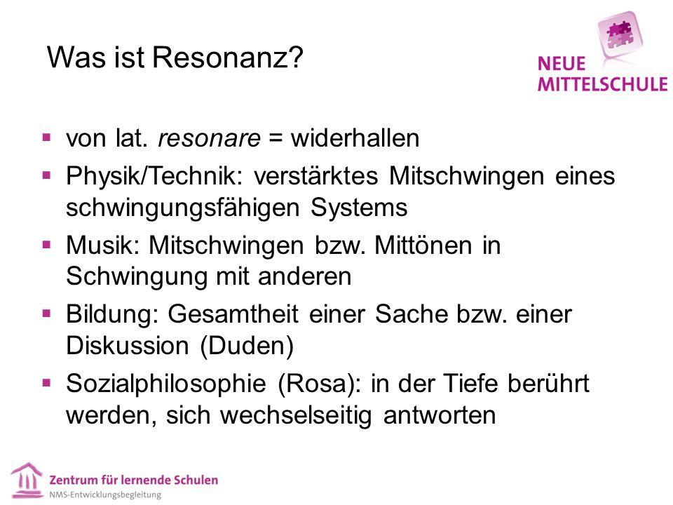 Was ist Resonanz?  von lat. resonare = widerhallen  Physik/Technik: verstärktes Mitschwingen eines schwingungsfähigen Systems  Musik: Mitschwingen