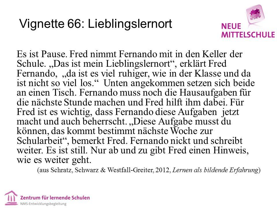 """Vignette 66: Lieblingslernort Es ist Pause. Fred nimmt Fernando mit in den Keller der Schule. """"Das ist mein Lieblingslernort"""", erklärt Fred Fernando,"""
