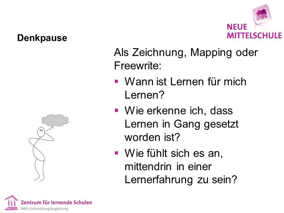 Denkpause Als Zeichnung, Mapping oder Freewrite:  Wann ist Lernen für mich Lernen?  Wie erkenne ich, dass Lernen in Gang gesetzt worden ist?  Wie f