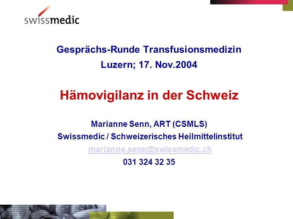 Gesprächs-Runde Transfusionsmedizin Luzern; 17.