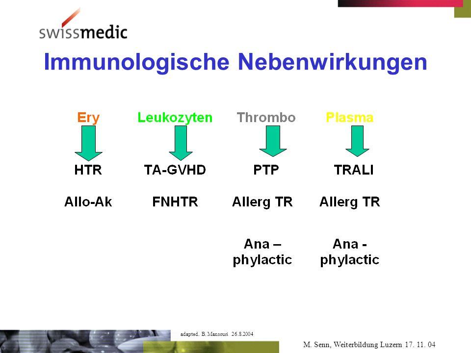 M. Senn, Weiterbildung Luzern 17. 11. 04 Immunologische Nebenwirkungen adapted.