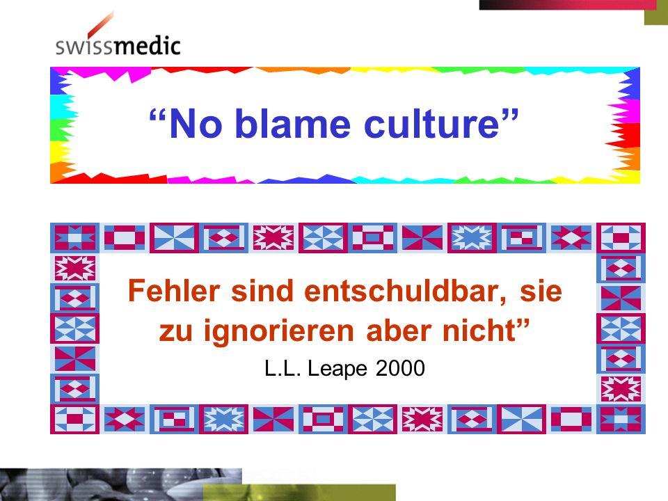 No blame culture Fehler sind entschuldbar, sie zu ignorieren aber nicht L.L. Leape 2000