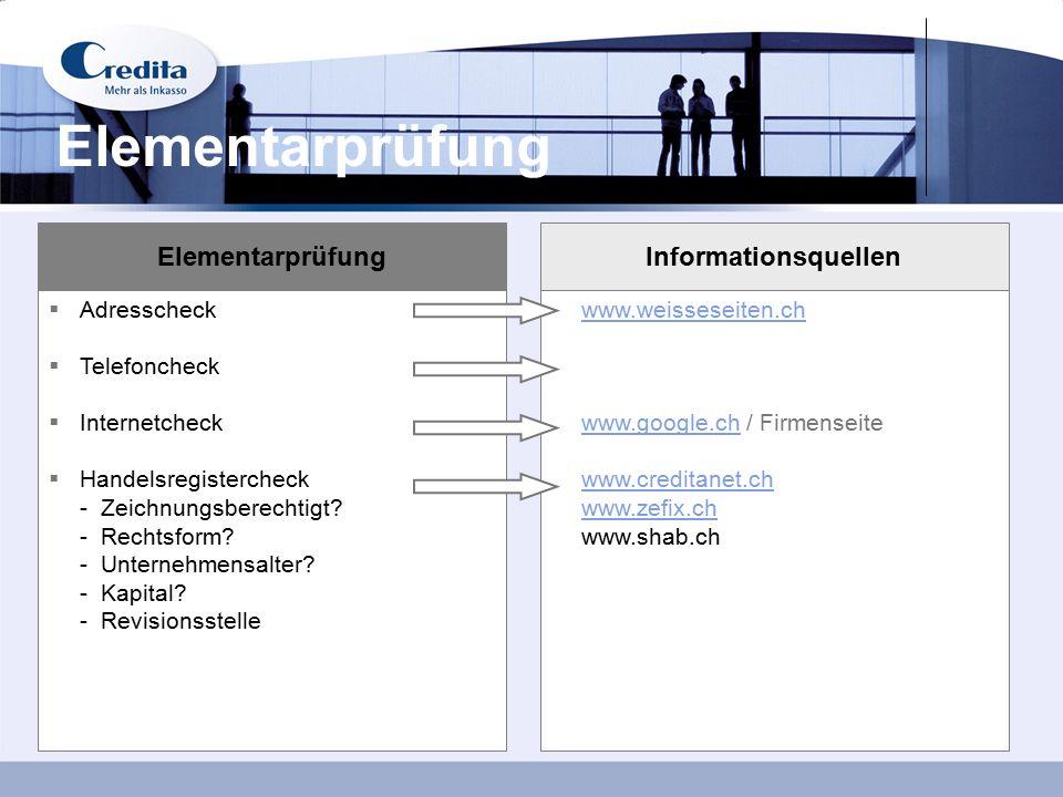 7 Elementarprüfung Informationsquellen  Adresscheck  Telefoncheck  Internetcheck  Handelsregistercheck - Zeichnungsberechtigt? - Rechtsform? - Unt