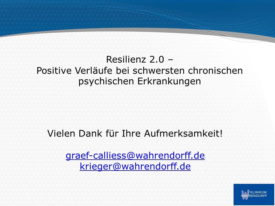 Resilienz 2.0 – Positive Verläufe bei schwersten chronischen psychischen Erkrankungen Vielen Dank für Ihre Aufmerksamkeit.
