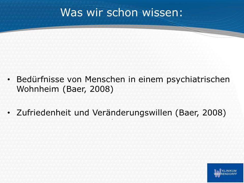Was wir schon wissen: Bedürfnisse von Menschen in einem psychiatrischen Wohnheim (Baer, 2008) Zufriedenheit und Veränderungswillen (Baer, 2008)