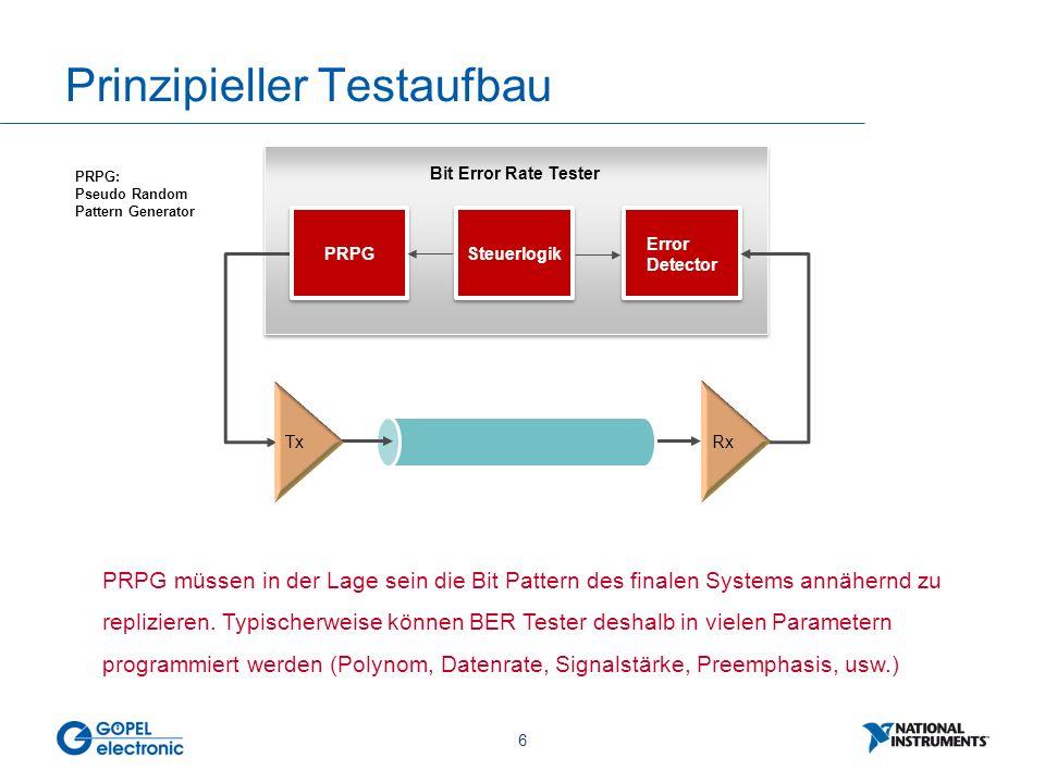6 Prinzipieller Testaufbau Bit Error Rate Tester Tx PRPG Steuerlogik Error Detector Rx PRPG: Pseudo Random Pattern Generator PRPG müssen in der Lage s