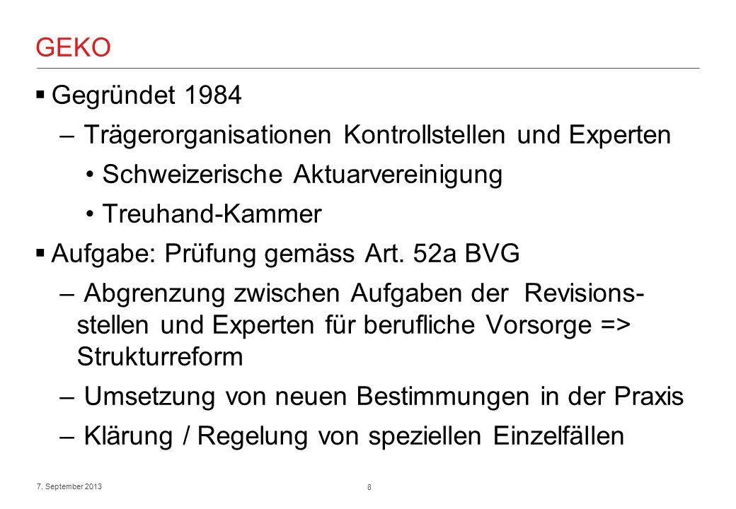 8 7. September 2013 GEKO  Gegründet 1984 – Trägerorganisationen Kontrollstellen und Experten Schweizerische Aktuarvereinigung Treuhand-Kammer  Aufga