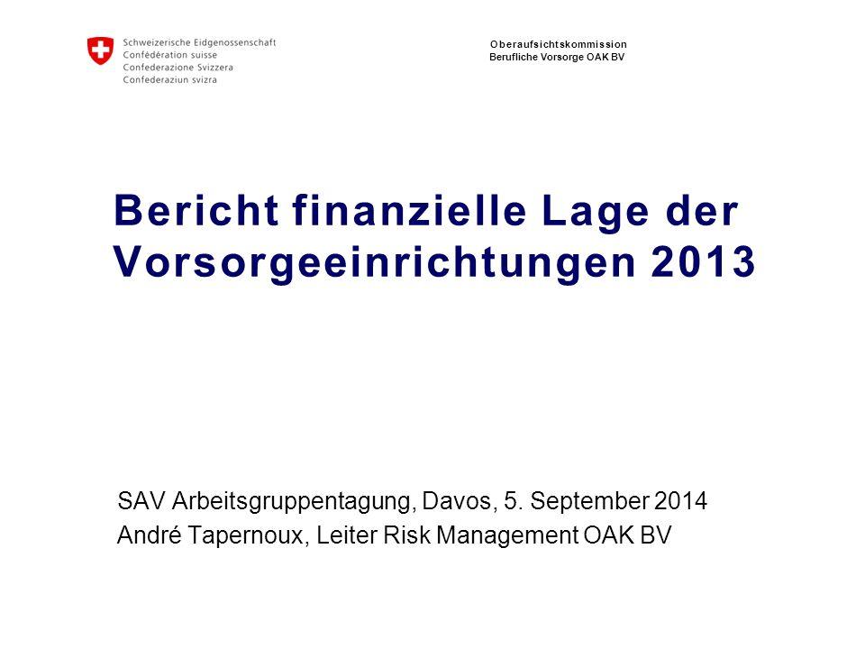 Oberaufsichtskommission Berufliche Vorsorge OAK BV Bericht finanzielle Lage der Vorsorgeeinrichtungen 2013 SAV Arbeitsgruppentagung, Davos, 5. Septemb