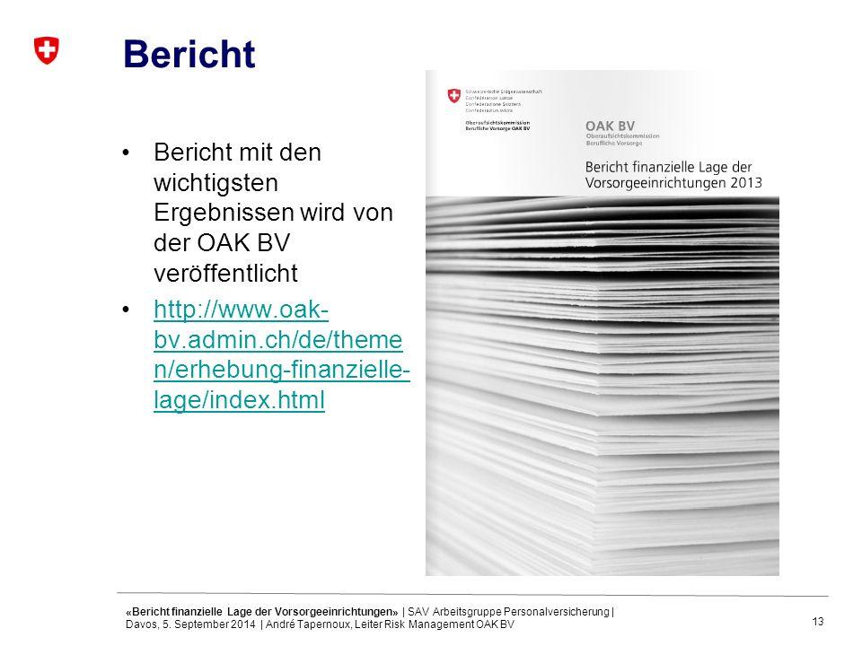 13 Bericht Bericht mit den wichtigsten Ergebnissen wird von der OAK BV veröffentlicht http://www.oak- bv.admin.ch/de/theme n/erhebung-finanzielle- lage/index.htmlhttp://www.oak- bv.admin.ch/de/theme n/erhebung-finanzielle- lage/index.html «Bericht finanzielle Lage der Vorsorgeeinrichtungen» | SAV Arbeitsgruppe Personalversicherung | Davos, 5.